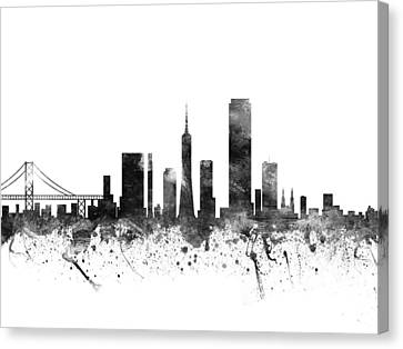 San Francisco California Cityscape 02bw Canvas Print by Aged Pixel