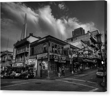Canvas Print featuring the photograph San Francisco - Chinatown 002 Bw by Lance Vaughn