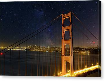 San Francisco City Skyline Through Golden Gate Bridge Canvas Print by David Gn
