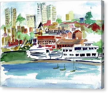 San Francisco Cityfront From Aquatic Park Canvas Print by Tom Simmons