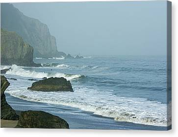 China Cove Canvas Print - San Francisco Fog - China Beach Rolling Surf by Georgia Mizuleva