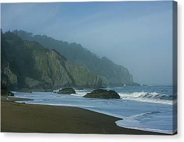 China Cove Canvas Print - San Francisco Fog - China Beach Soft Foam Rough Rocks by Georgia Mizuleva