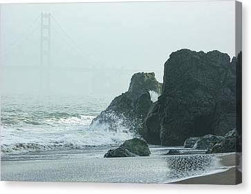China Cove Canvas Print - San Francisco Fog - Golden Gate Bridge Emerging From The Milky Mists by Georgia Mizuleva
