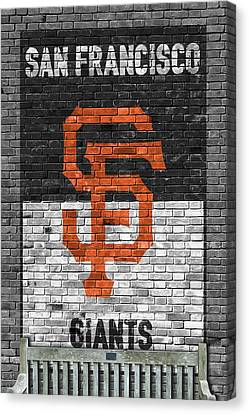 Baseball Fields Canvas Print - San Francisco Giants Brick Wall by Joe Hamilton
