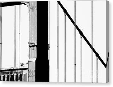 San Francisco Golden Gate Bridge . Black And White Photograph . 7d7954 Canvas Print by Wingsdomain Art and Photography