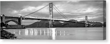 City Scenes Canvas Print - San Francisco Golden Gate Panorama - Black And White by Gregory Ballos