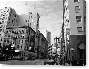 San Francisco - Jessie Street View - Black And White Canvas Print by Matt Harang