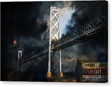 San Francisco Nights At The Bay Bridge . 7d7748 Canvas Print by Wingsdomain Art and Photography