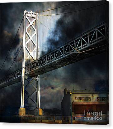 San Francisco Nights At The Bay Bridge 7d7748 Square Canvas Print by Wingsdomain Art and Photography