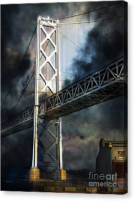 San Francisco Nights At The Bay Bridge 7d7748 Vertical Canvas Print by Wingsdomain Art and Photography