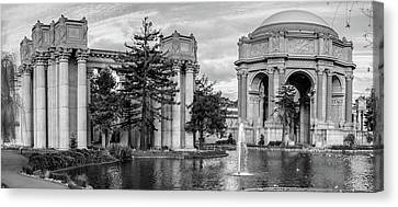 San Francisco Palace Of Fine Arts Panorama - Black And White Canvas Print by Gregory Ballos