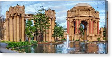 San Francisco Palace Of Fine Arts Panorama Canvas Print by Gregory Ballos