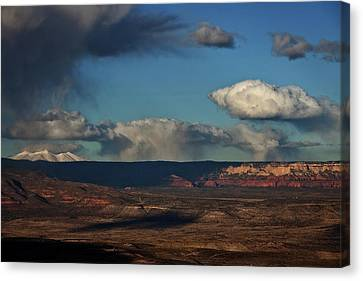 Canvas Print featuring the photograph San Francisco Peaks With Snow And Clouds by Ron Chilston