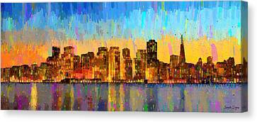 Gate Canvas Print - San Francisco Skyline 10 - Da by Leonardo Digenio