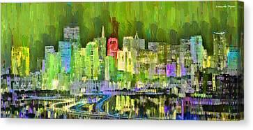 San Francisco Skyline 103 - Pa Canvas Print by Leonardo Digenio