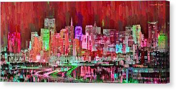 Gate Canvas Print - San Francisco Skyline 109 - Pa by Leonardo Digenio