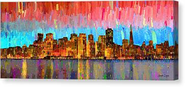 San Francisco Skyline 11 - Da Canvas Print by Leonardo Digenio