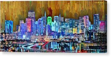 River Canvas Print - San Francisco Skyline 110 - Da by Leonardo Digenio