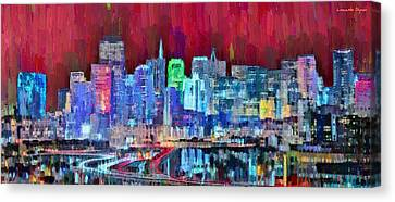 Bay Canvas Print - San Francisco Skyline 113 - Pa by Leonardo Digenio