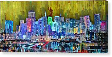 Gate Canvas Print - San Francisco Skyline 114 - Da by Leonardo Digenio