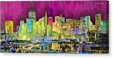 San Francisco Skyline 121 - Pa Canvas Print by Leonardo Digenio