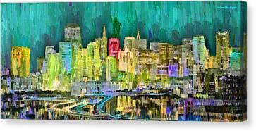 Lake Canvas Print - San Francisco Skyline 126 - Da by Leonardo Digenio