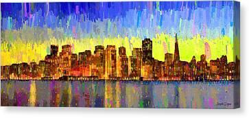 Scenes Canvas Print - San Francisco Skyline 13 - Da by Leonardo Digenio