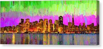 New York City Skyline Canvas Print - San Francisco Skyline 15 - Pa by Leonardo Digenio