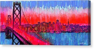 San Francisco Skyline 51 - Pa Canvas Print by Leonardo Digenio