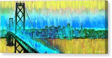 Gate Canvas Print - San Francisco Skyline 54 - Pa by Leonardo Digenio