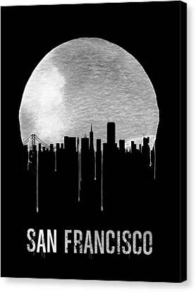 San Francisco Skyline Black Canvas Print by Naxart Studio