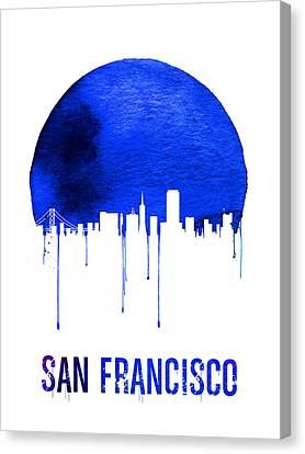 San Francisco Skyline Blue Canvas Print by Naxart Studio