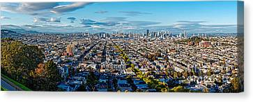 San Francisco Skyline From Bernal Heights Park At Sunset - San Francisco California Canvas Print by Silvio Ligutti