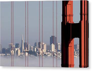 San Francisco Skyline From Golden Gate Bridge Canvas Print by Mona T. Brooks