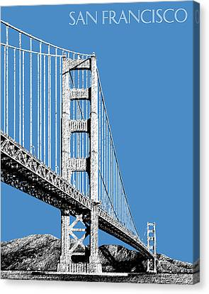San Francisco Skyline Golden Gate Bridge 2 - Slate Blue Canvas Print by DB Artist