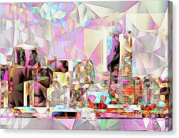 Canvas Print featuring the photograph San Francisco Skyline In Abstract Cubism Eos 5d29399 20170326 by Wingsdomain Art and Photography