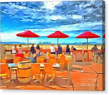 San Francisco Skyline From Alameda  Canvas Print by Linda Weinstock