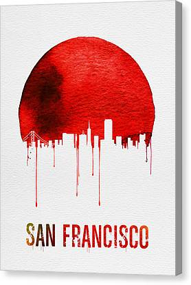 San Francisco Skyline Red Canvas Print by Naxart Studio
