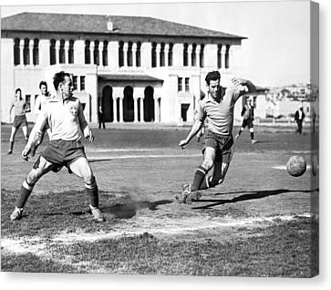 Medium Group Of People Canvas Print - San Francisco Soccer Match by Underwood Archives