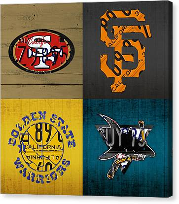 San Francisco Sports Fan Recycled Vintage California License Plate Art 49ers Giants Warriors Sharks Canvas Print by Design Turnpike