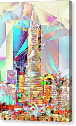 Canvas Print featuring the photograph San Francisco Transamerica Tower In Abstract Cubism 20170326 V2 by Wingsdomain Art and Photography