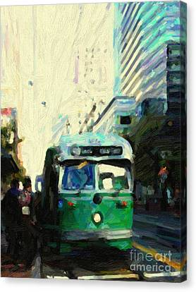 San Francisco Trolley F Line On Market Street Canvas Print by Wingsdomain Art and Photography