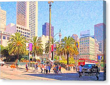 San Francisco Union Square Canvas Print by Wingsdomain Art and Photography