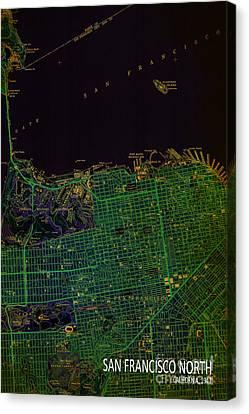 San Francisco Vintage Old Map Canvas Print