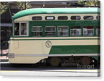 San Francisco Vintage Streetcar On Market Street - 5d17973 Canvas Print by Wingsdomain Art and Photography