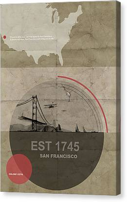 Gate Canvas Print - San Fransisco by Naxart Studio