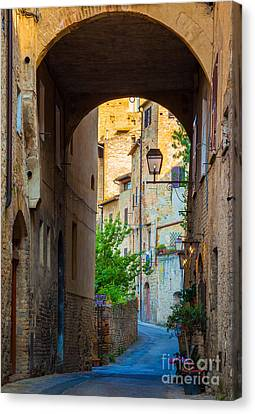 Tuscan Canvas Print - San Gimignano Archway by Inge Johnsson