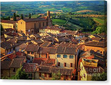 Toscana Canvas Print - San Gimignano From Above by Inge Johnsson