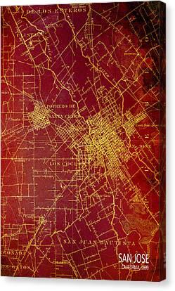San Jose 1899 Vintage Map Canvas Print