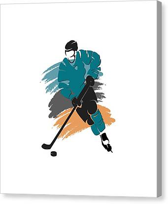 San Jose Sharks Player Shirt Canvas Print by Joe Hamilton